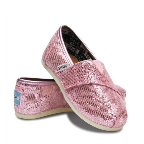 Toms Other - Toms Pink Glitter Classic Canvas Slip On Flats 6Y